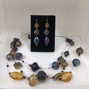 Zevar by Treska Wire Beaded Necklace Earring Set